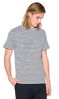 SATURDAYS NYC Brandon Feeder Tee in White & Navy