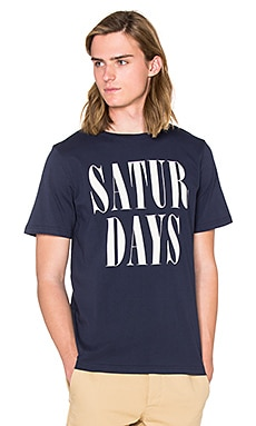 SATURDAYS NYC Herb Stacked Tee in Navy