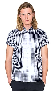 SATURDAYS NYC Esquina Gigham S/S Button Down in White & Indigo