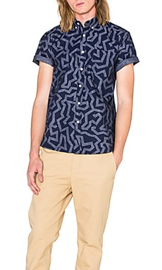 SATURDAYS NYC Esquina Maze S/S Button Down in Navy