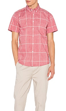 SATURDAYS NYC Esquina Reverse Print S/S Button Down in Deep Red