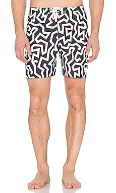 SATURDAYS NYC Colin Seamless Board Shorts in White Maze