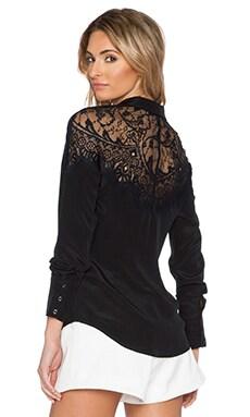 SAU Hannah Silk Button Up in Black