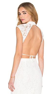 SAU Zoe Backless Crop Top in White
