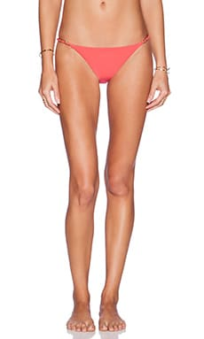 Sauvage Lotus Bikini Bottom in Coral