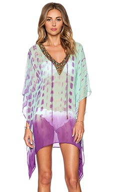 Sauvage Royal Silk Caftan in Gold Turquoise Jewles