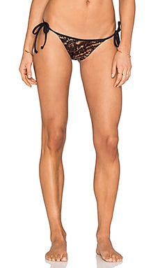Sauvage Side Tie Rio Bikini Bottom in 70's Glam Bronze Metallic