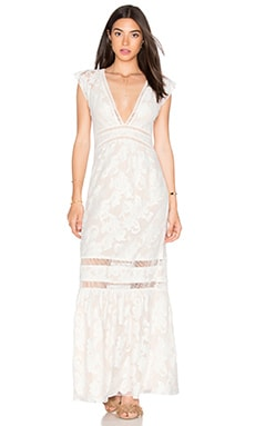 SAYLOR Rosie Maxi Dress in White & Nude