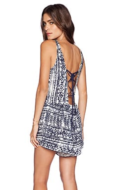 SAYLOR Haley Romper in Blue & White