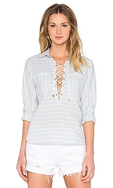 SAYLOR Hana Top in Blue & Creme