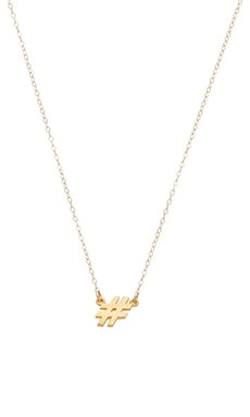 Stella and Bow Hashtag Necklace in Gold