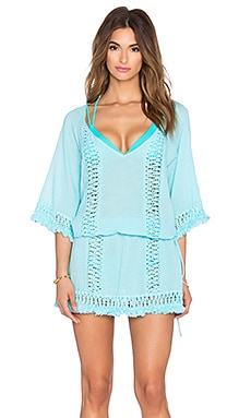 SOFIA by ViX Crochet Caftan in Solid Blue Lagoon