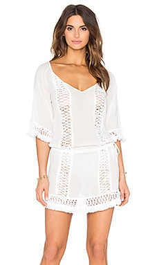 SOFIA by ViX Crochet Caftan in Solid White