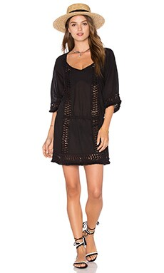 SOFIA by ViX Crochet Caftan in Solid Black