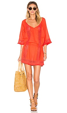 SOFIA by ViX Crochet Caftan in Solid Melon