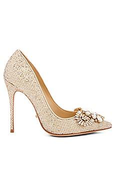 Schutz Embellished Heel in Gold Glitter