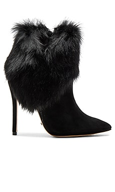 Henrietta Rabbit Fur Bootie in Black