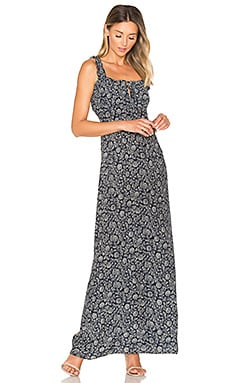 Naomi Gown in Navy Fan Print