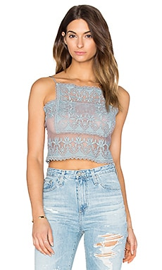 STONE_COLD_FOX Chrous Crop Top in Periwinkle Blue Lace