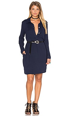 SUNDRY Pinstripes Henley Shirtdress in Navy