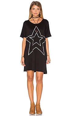 SUNDRY Star Tunic Dress in Black