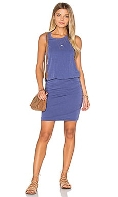 SUNDRY Ruched Tank Dress in Pigment Lapis