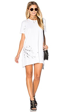 SUNDRY Texture Jersey Painted Tunic Tee Dress in White