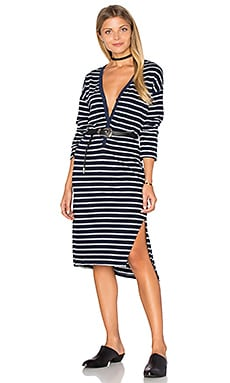 SUNDRY Long Sleeve Henley Dress in Navy