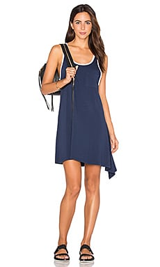 White Contrast Rib Asymmetrical Binding Dress in Navy