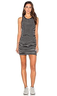 SUNDRY Striped Ruched Tank Dress in Old Black