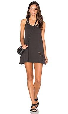 SUNDRY Texture Jersey Tank Dress in Old Black
