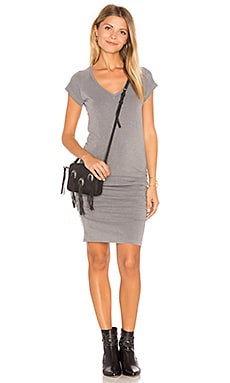 V-Neck Slub Spandex Dress in Pigment Olive