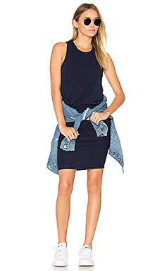 Jersey Sleeveless Dress in Heather Navy