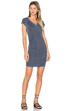 Ruched V Neck Mini Dress in Oil Washed Navy