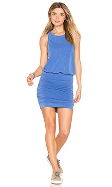 Ruched Tank Dress in Pigment French Blue