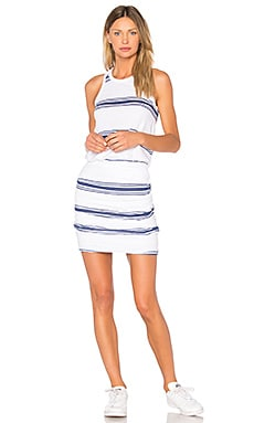 Navy Stripes Tank Dress in White