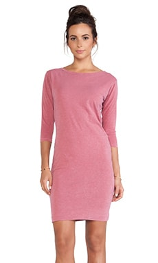 SUNDRY Boat Neck Long Sleeve Dress in Berry Pigment