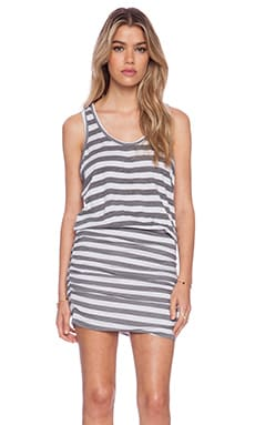 SUNDRY Striped Ruched Tank Dress in Pearl
