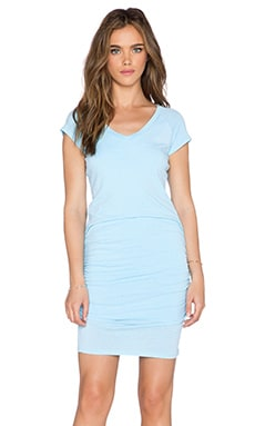 SUNDRY V Neck Dress in Lagoon Pigment