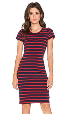 SUNDRY Short Sleeve Stripe Dress in Blue & Red