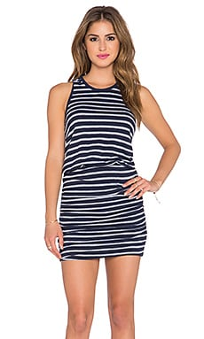 SUNDRY Stripe Sleeveless Dress in Midnight