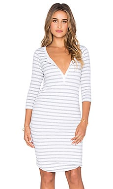 SUNDRY Striped 3/4 Henley Dress in Natural