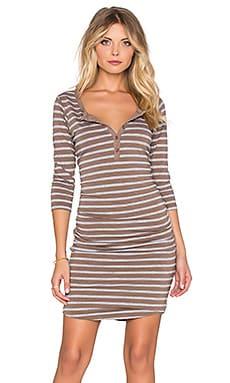 SUNDRY Striped 3/4 Henley Dress in Moss