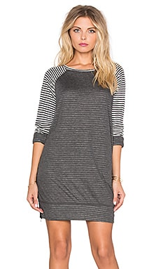 SUNDRY Striped Raglan Dress in Natural