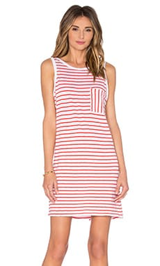 SUNDRY Pocket Tank Dress in Tomato Stripe