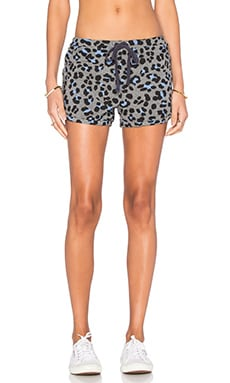 SUNDRY Leopard Print Dolphin Short in Heather Grey