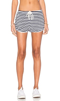 Stripe Dolphin Short in White
