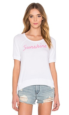 SUNDRY Sunshine Short Sleeve Pullover Knit in White