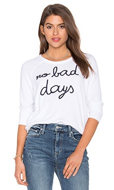 SUNDRY No Bad Days Crop Pullover in White