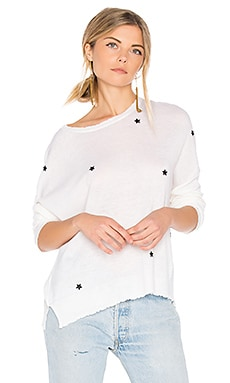 Star Patches Cashmere Pullover in White